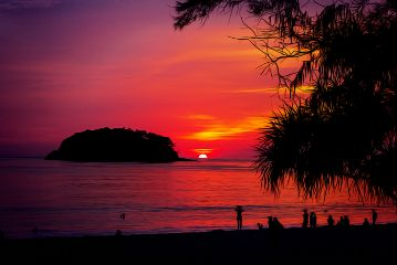 beach colorful nature travel sunset