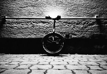 blackandwhite unicycle