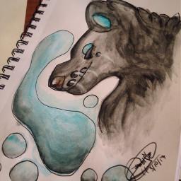 watercolor wolfiedraws28 myart sketchedout wolf