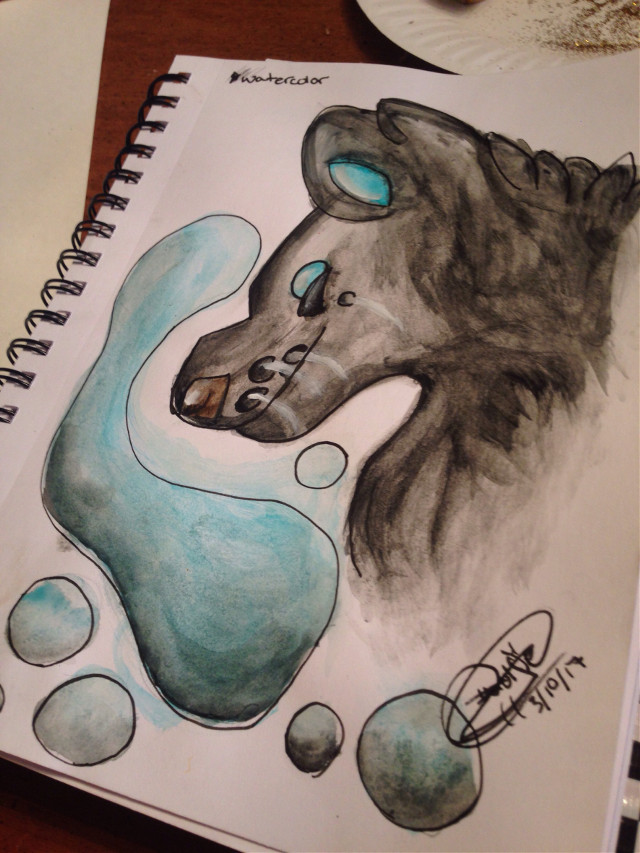 Finished.  Time taken: about 3 hours  #watercolor #wolfiedraws28 #myart #sketchedout #wolf #wolfie #lavaeffect #bubbles #hashtag X3