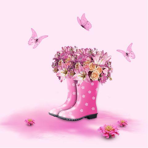 freetoedit boots flowers butterflies pink