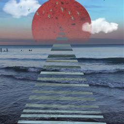 beach lakemichigan pier bodyofwater triangle freetoedit