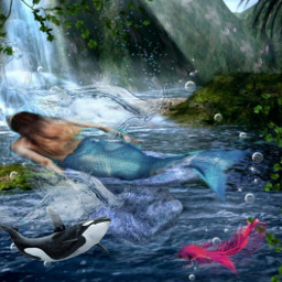 FreeToEdit remixed myremix doubleexposure water swim fantasy surreal mermaid ocean stickers communitystickers picsartstickers picsarteffects
